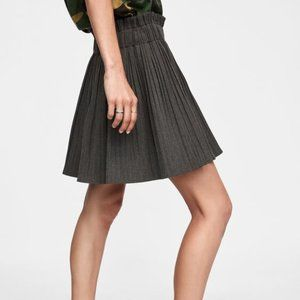 NWT Zara pleated brown Plaid skirt